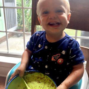 happy boy empty plate